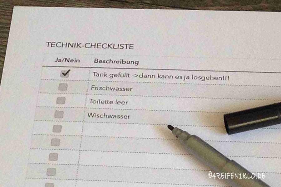 Wohnmobil Technik-Checkliste