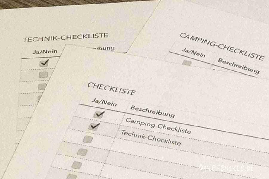 Wohnmobil-Checklisten