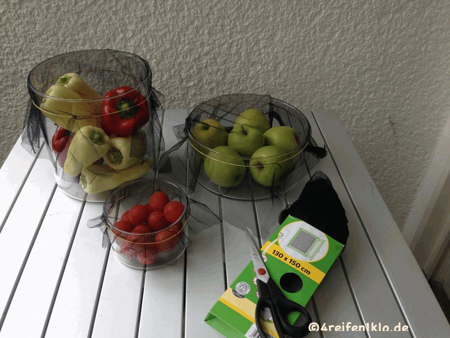 Einfacher Fliegenschutz für Obst