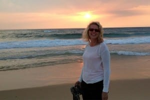Bianca beim Sonnenuntergang in Mimizan