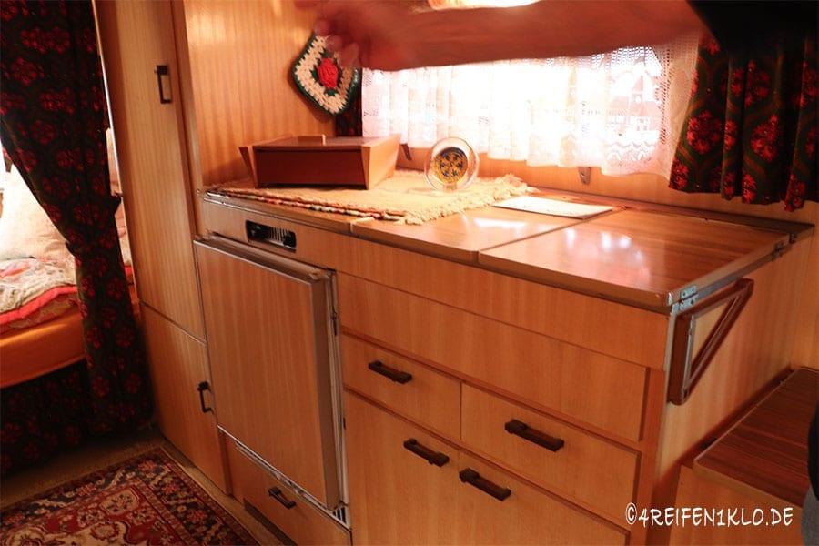 Küche im Dethleffs Wohnwagen von 1972