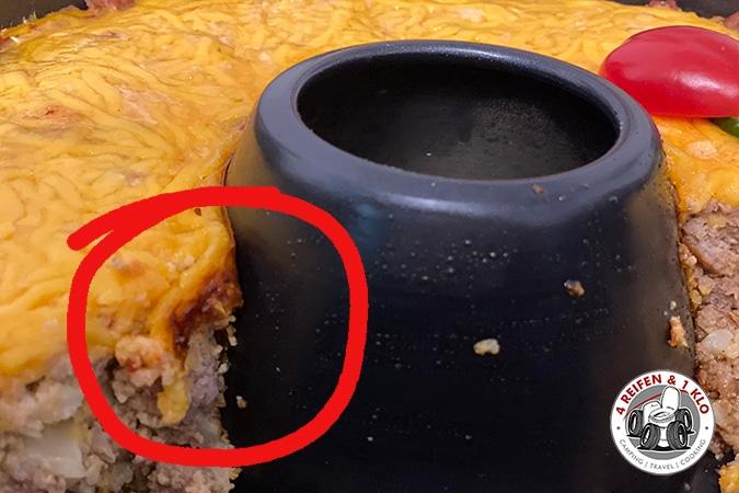 Angesetzter Käse Campingbackofen