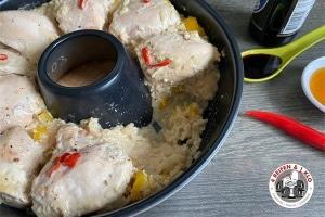 Auflauf mit Reis und Hühnchenfleisch